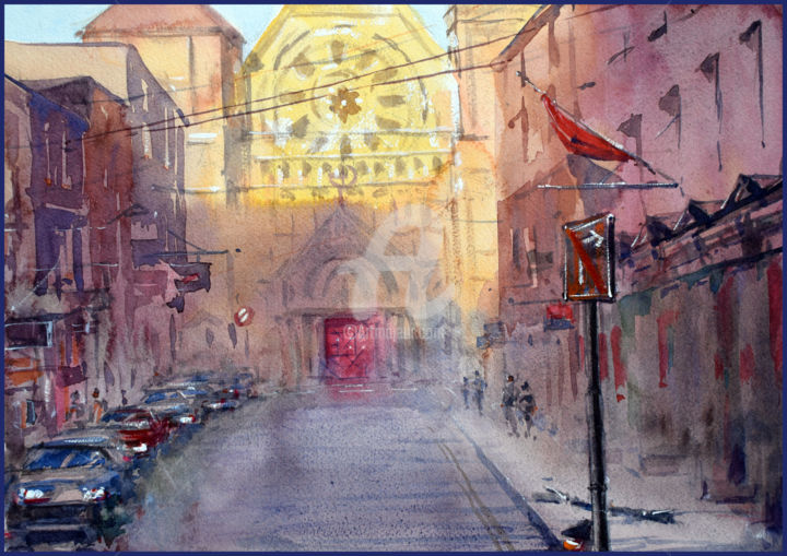 """Painting titled """"Golden church"""" by Igal, Original Art, Watercolor"""