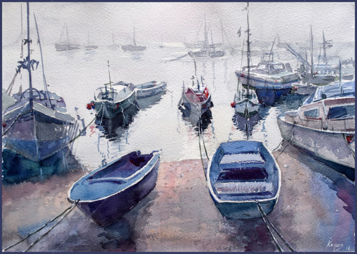 """Painting titled """"Foggy day at bay"""" by Igal, Original Art, Watercolor"""