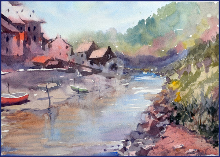 """Painting titled """"Village view"""" by Igal, Original Art, Watercolor"""