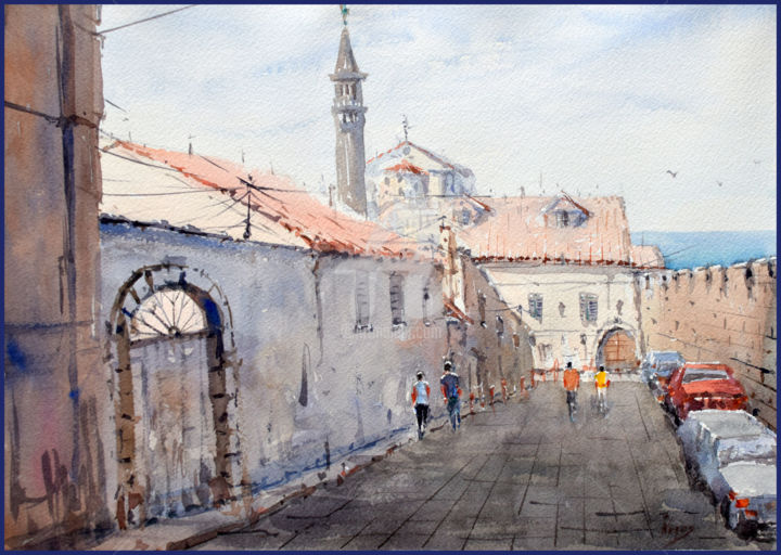 """Painting titled """"Old city view"""" by Igal, Original Art, Watercolor"""