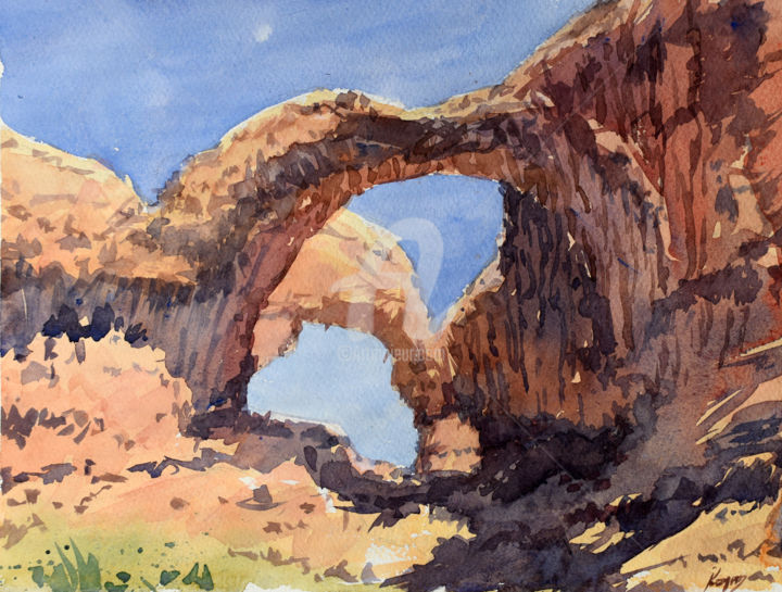 """Painting titled """"Double arch"""" by Igal, Original Art, Watercolor"""