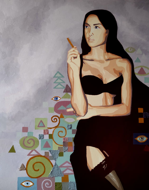 """Painting titled """"Lady With A Cigaret…"""" by Tatiana Ignat, Original Art, Oil Mounted on Stretcher frame"""