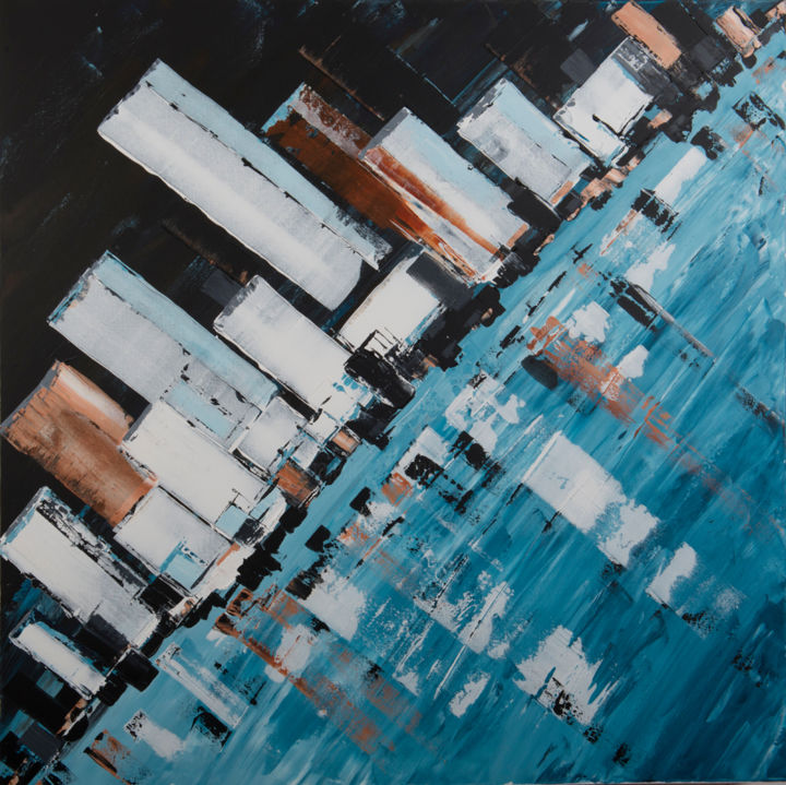 DOWNTOWN - Painting,  1,000x1,000x30 cm ©2014 by igor BILLY -                        Architecture