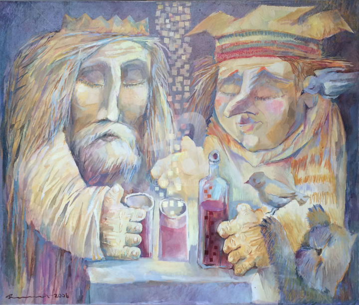 The old friends - Painting,  25.6x29.5 in, ©2008 by Igor Filippov -                                                                                                                                                                                                                                                                                                                                                                                                                                                                                                  Figurative, figurative-594, Fantasy, king, illustration, image, deco, peinture, friend, old