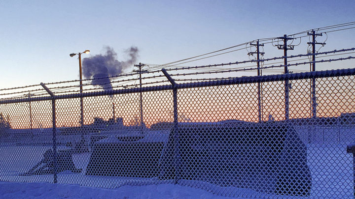 Smoke And Buckets - Photography ©2018 by igzotic -                                                                                                                                            Abstract Art, Illustration, Abstract Art, Colors, Geometric, Light, Patterns, Places, Seasons, Transportation, photography, digital, abstract, heavy equipment, fence, smokestack, smoke, alaska, igzotic