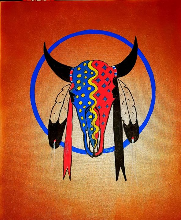 Painted Buffalo skull Painting by Ikce Wicasa | Artmajeur
