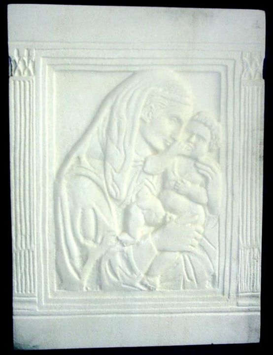 """Sculpture titled """"Madonna and child"""" by Andreevi, Original Art, Stone"""