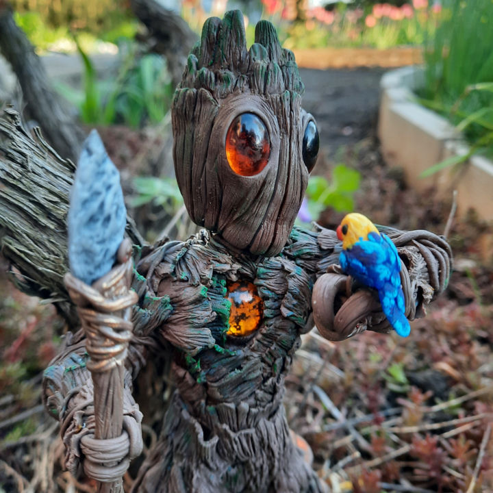 """Sculpture titled """"Forest Guardian"""" by Illia Horb, Original Art, Polymer clay"""