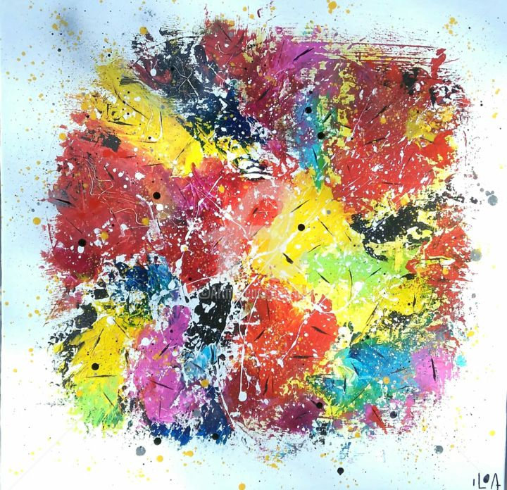 Ondes Positives - Painting,  31.5x31.5 in, ©2018 by Iloa -                                                                                                                                                                                                                                                                                                                  Abstract, abstract-570, Abstract Art, blanc et multicolore, feu d artifice, explosion