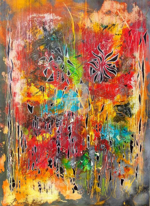 TERRE-HAPPY - Painting,  39.4x28.7 in, ©2020 by Iloa -                                                                                                                                                                          Abstract, abstract-570, Abstract Art