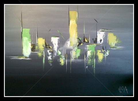 Yellow and Green - Painting,  31.9x39.4 in, ©2012 by Iloa -
