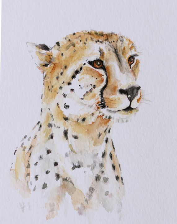 cheetah - Painting,  12.6x9.1x0.8 in, ©2019 by Ilona Petzer -                                                                                                                                                          Animals, Cheeah, african cats