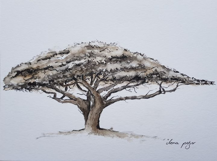 African dream tree - Painting,  9.5x12.6x0.1 in, ©2020 by Ilona Petzer -                                                                                                                                                                                                                                                                      Expressionism, expressionism-591, Tree, tree, africa