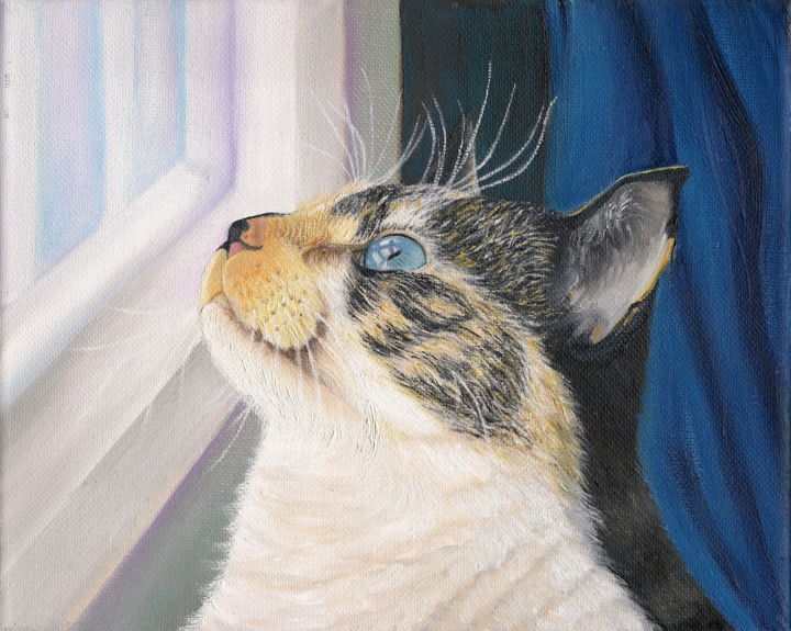 """Painting titled """"Cat by the Window"""" by Gladys Jimenez, Original Art, Oil"""