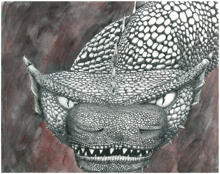 face the dragon - Disegno,  15x20 in, ©2010 da Paul Meier -                                                                                                                                                                                                                                                                                                                  Illustration, illustration-600, fantastico, dragon, ink, fantasy