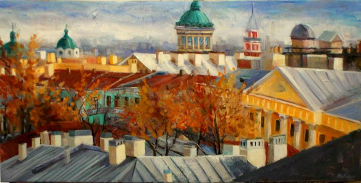 """Painting titled """"""""Old town"""""""" by Ινα Μελιδου, Original Art, Oil"""