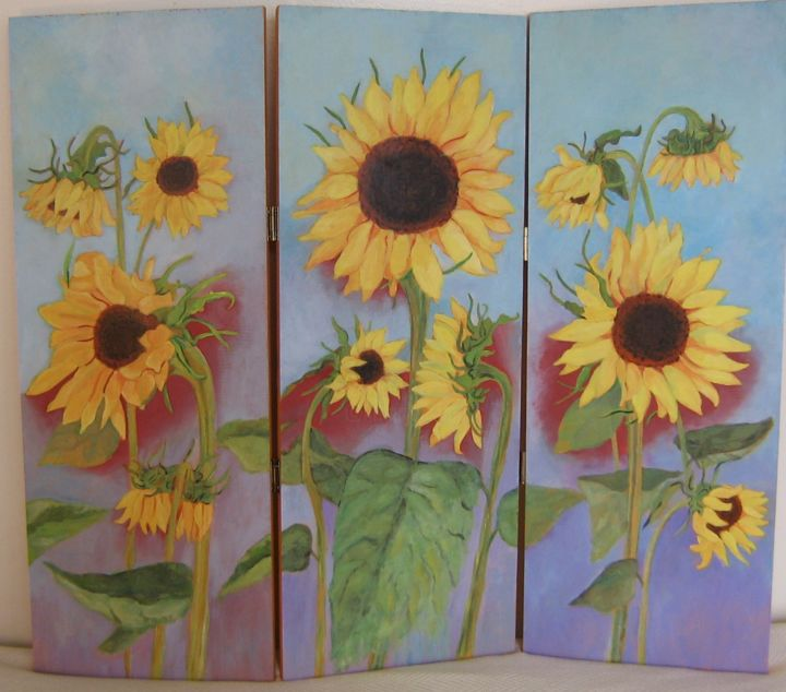 """Painting titled """"Sunflowers"""" by Inara Cedrins, Original Art,"""