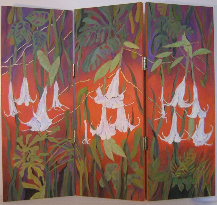 """Painting titled """"Trumpet Flowers"""" by Inara Cedrins, Original Art,"""