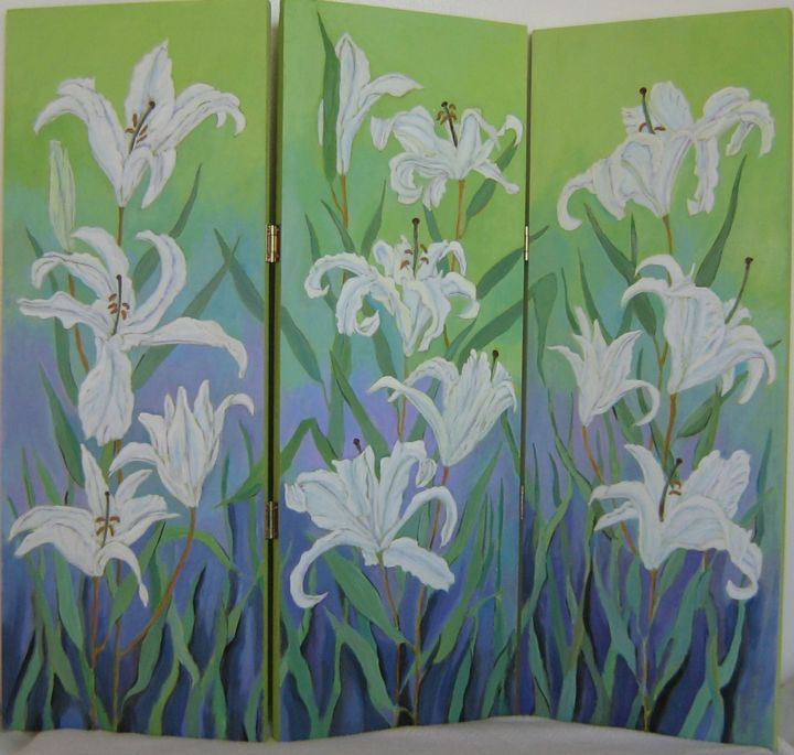 """Painting titled """"Apple-Green Lilies"""" by Inara Cedrins, Original Art,"""