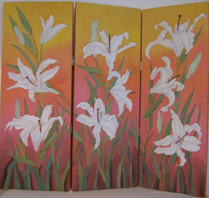 """Painting titled """"Lilies The Color Of…"""" by Inara Cedrins, Original Art, Oil"""