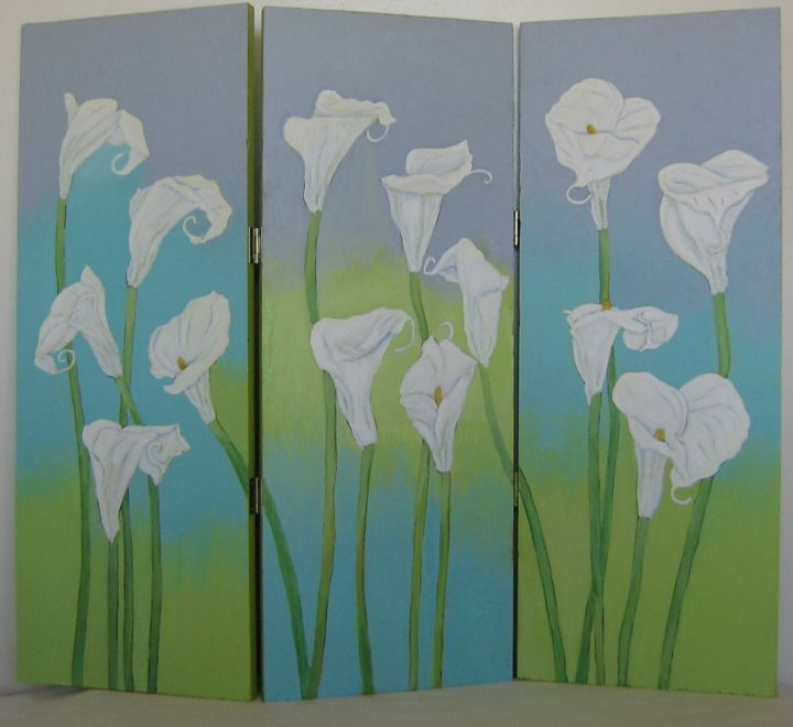 """Painting titled """"Calla Lilies"""" by Inara Cedrins, Original Art, Acrylic"""