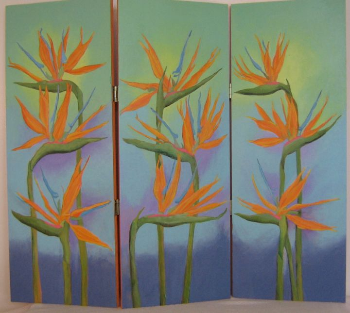 """Painting titled """"Birds of Paradise"""" by Inara Cedrins, Original Art, Acrylic"""