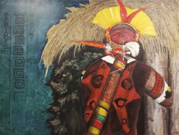 """Painting titled """"A Guy Arriving Home"""" by India O'Hara Andreoli, Original Art, Acrylic Mounted on Wood Panel"""