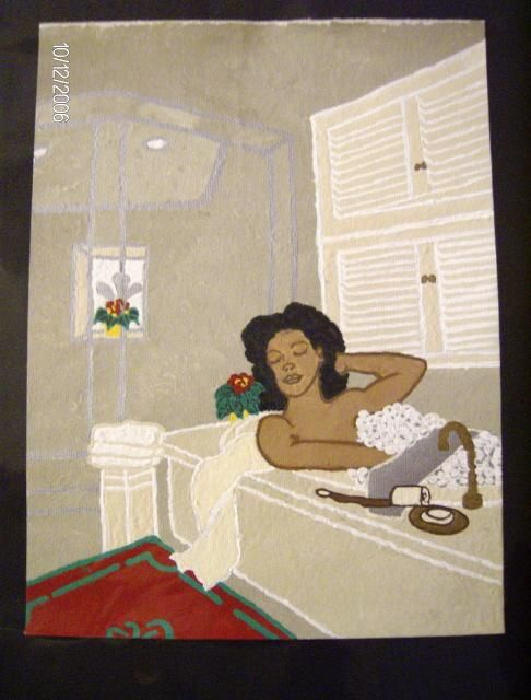 Relaxing - Painting,  12x9 in, ©2006 by Tonjua Lyles -                                                              acrylic paintings
