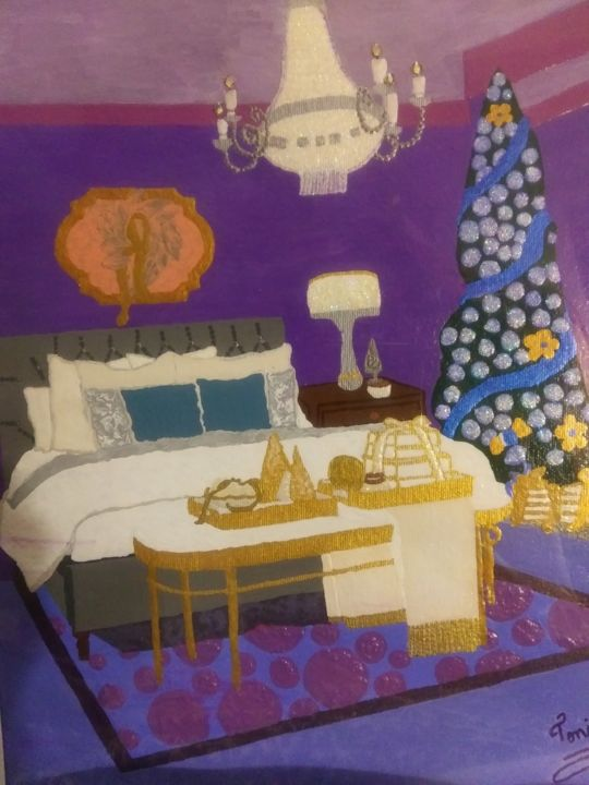 Holiday GetAway - Painting,  16x12 in, ©2020 by Tonjua Lyles -                                                                                                                                                                                                  holiday, bedroom, acrylic, gift