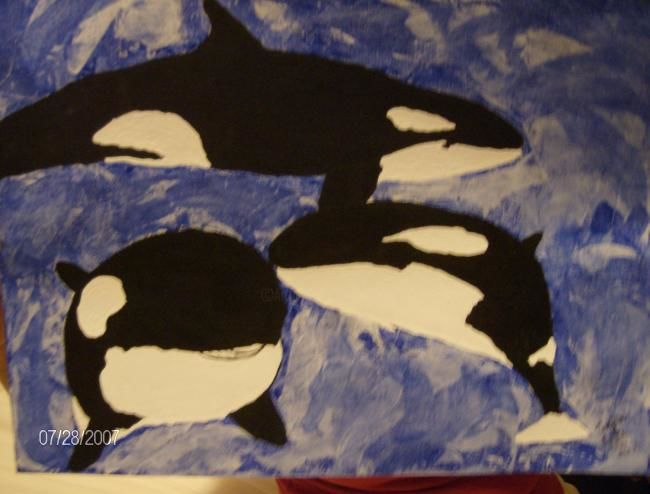 The Whales! - Painting,  12x16 in, ©2007 by Tonjua Lyles -                                                                                                          animals, paintings