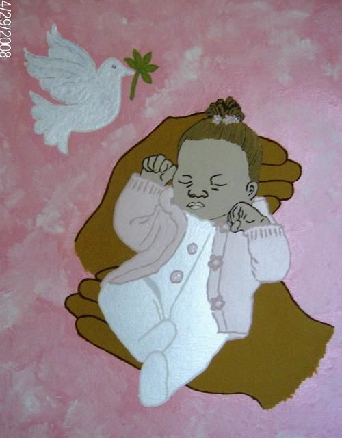 Life In His Hands [Afro-American girl] - Painting,  16x12 in, ©2008 by Tonjua Lyles -                                                                                                          children, babies acrylic paintings