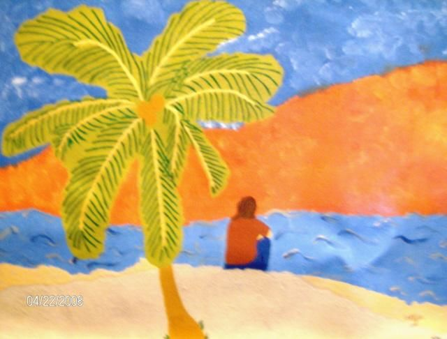Sunset - Painting,  18x24 in, ©2008 by Tonjua Lyles -                                                              acrylic paintings