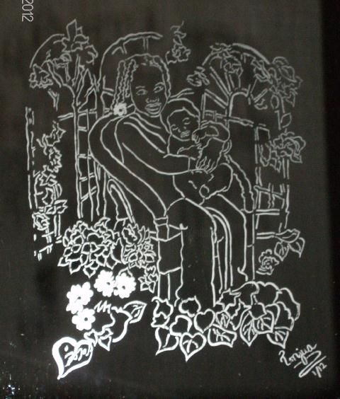 Children in the Garden - Mixed Media ©2012 by Tonjua Lyles -            PERSONALIZED MIRROR ART