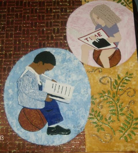 Train Up A Child/ Reading Joy - Painting,  20x16 in, ©2013 by Tonjua Lyles -                                                                                                          child, children acrylic