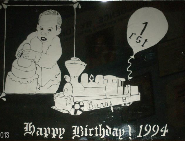 Birthday Train/1rst(Boy) - Mixed Media ©2014 by Tonjua Lyles -            personalized, custom mirror, art