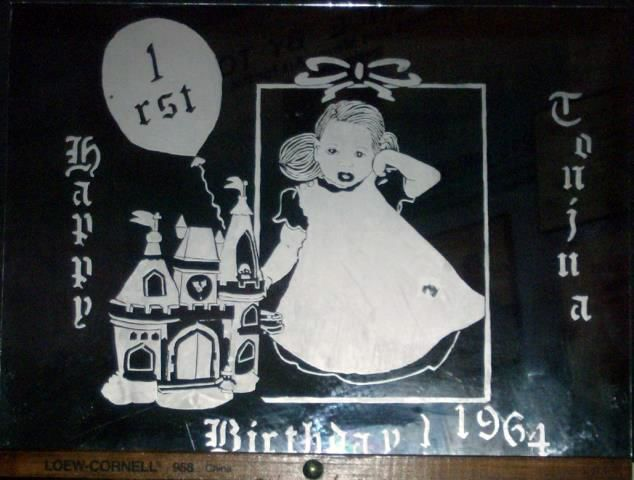 Birthday Castle/1rst(Girl) - Painting, ©2014 by Tonjua Lyles -                                                                                                                                                      personalized, mirror, art