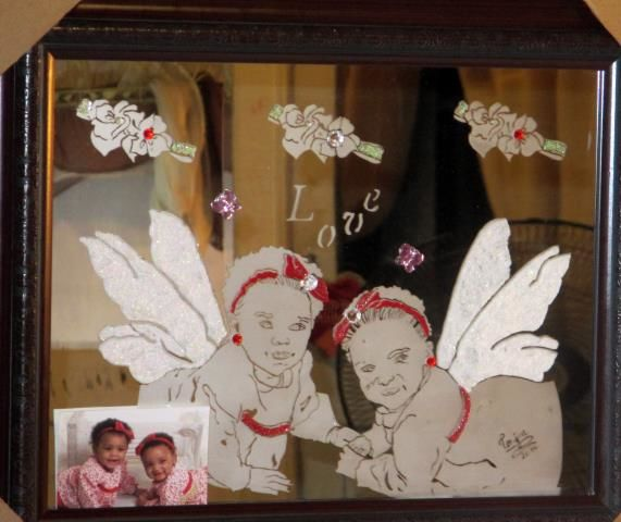Fairy Twins - Mixed Media ©2014 by Tonjua Lyles -                                                            Portraiture, Glass, People, private
