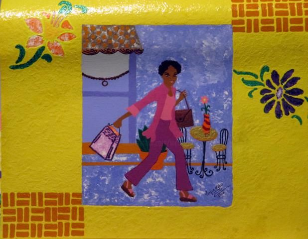 Ladies on the Move Too - Painting,  20x16 in ©2014 by Tonjua Lyles -            acrylic, paintings, ladies, gift