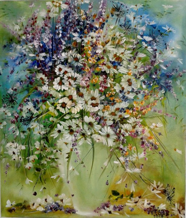 bouguet - Painting,  60x70x2 cm ©2017 by inesa mur -                                                        Impressionism, Canvas, Flower