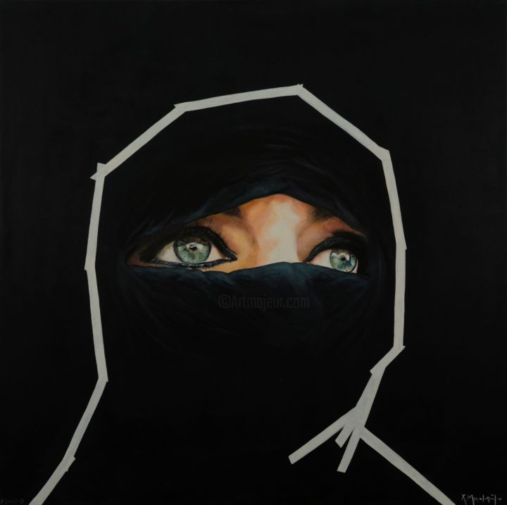 Eyes - Painting,  39.4x39.4x1.6 in, ©2017 by Christina Michalopoulou -                                                                                                                                                                                                                                                                                                                                                                                                                                                                                                                                                                                                                                      Figurative, figurative-594, People, Asia, Women, Religion, woman, eyes, burgas, figure, realism, feminism, black