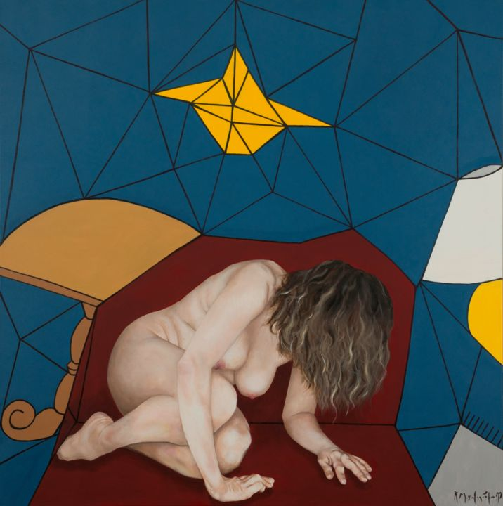 Removal - Painting,  39.4x39.4x1.6 in, ©2018 by Christina Michalopoulou -                                                                                                                                                                                                                                                                                                              Pop Art, pop-art-615, People, Geometric, Nude, Women
