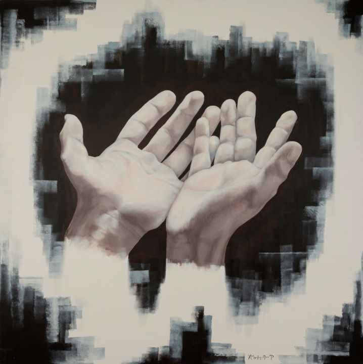Hands - Painting,  59.1x59.1x1.6 in, ©2017 by Christina Michalopoulou -                                                                                                                                                                                                                                                                                                                                                                                                                                                                                                                                                                                                                                                                                                                                                                                                                      Figurative, figurative-594, Men, People, Religion, Cities, Fantasy, hands, pray, god, town, city, palms, black, white, religion, man