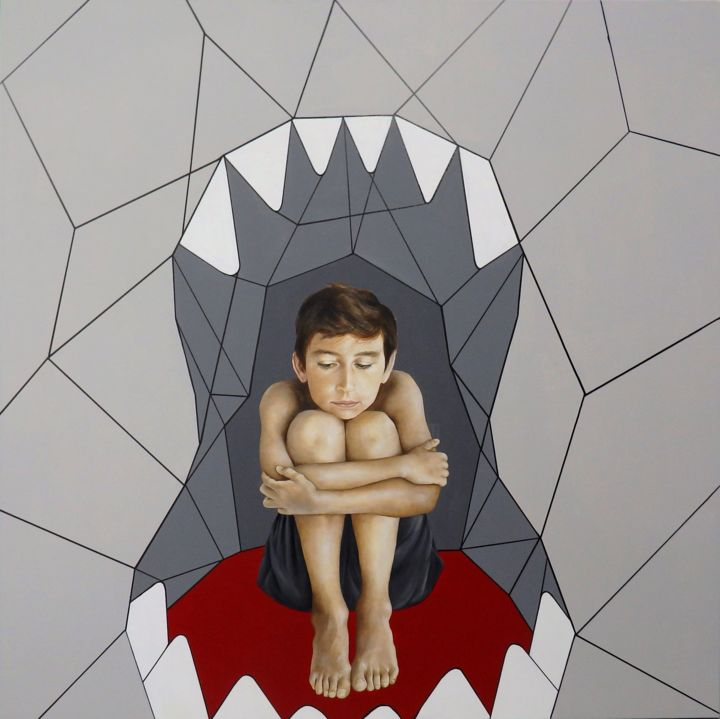 Childhood - Painting,  47.2x47.2x1.6 in, ©2019 by Christina Michalopoulou -                                                                                                                                                                                                                                                                                                                                                                                                                                                                                                                                                                                                                                      Pop Art, pop-art-615, People, Children, Fantasy, boy, shark, fear, human, figurative, red, grey, pop
