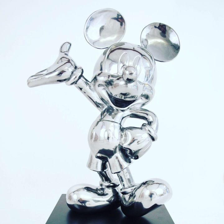 """Mickey Silver"" - Sculpture,  33.5x17.7x17.7 in, ©2019 by Bart Stillekens -                                                                                                                                                                                                                                                                                                                                                                                                          Figurative, figurative-594, Celebrity, Culture, Pop Culture / celebrity, disney, sculpture, mickeymouse"