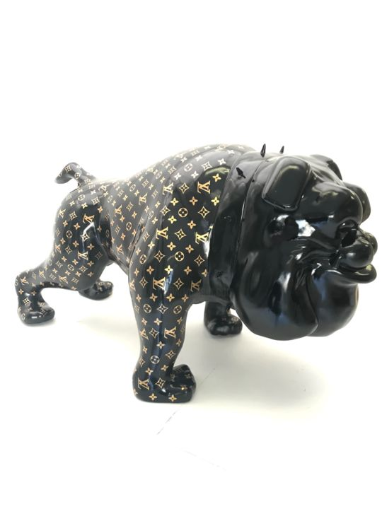 """Fashion Bulldog LV"" - Sculpture,  31.5x35.4x43.3 in, ©2019 by Bart Stillekens -                                                                                                                                                                                                                                                                                                                                                                                                                                                                                                                                                                                                                                                                                  Figurative, figurative-594, Culture, louisvuitton, sculpture, dogg, bulldog, outdoor, indoor, fashion, unique, eyecatcher, gold, black"