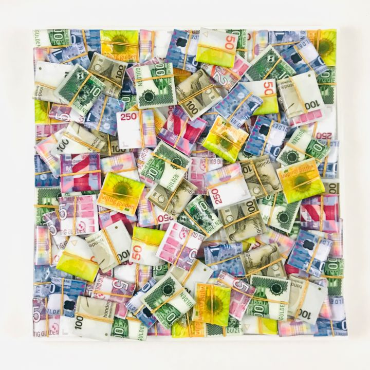"""Gulden Painting"" 50x50 1/100 - Painting,  19.7x19.7x1.6 in, ©2020 by Bart Stillekens -                                                                                                                                                                                                                                                                                                                                                                                                                                                      Figurative, figurative-594, Business, moneyart, cashart, nederland, oldfashionmoney, contemporary, modern"