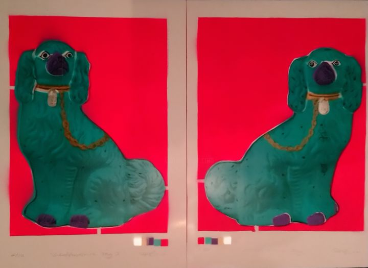 """Printmaking titled """"Staffordshire Dogs"""" by Dylan Bell (Bells Galleries), Original Art, Spray paint"""
