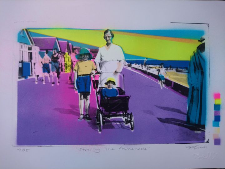 """Printmaking titled """"Strolling the Prom"""" by Dylan Bell (Bells Galleries), Original Art, Spray paint"""