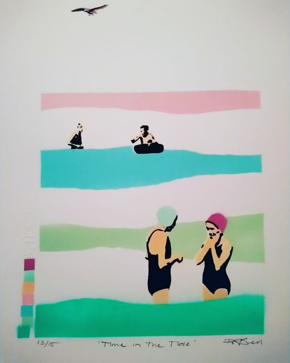 """Printmaking titled """"Time in the Tide"""" by Dylan Bell (Bells Galleries), Original Art, Spray paint"""