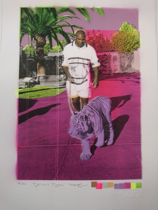 """Printmaking titled """"Tyson's Tiger"""" by Dylan Bell (Bells Galleries), Original Art, Spray paint"""